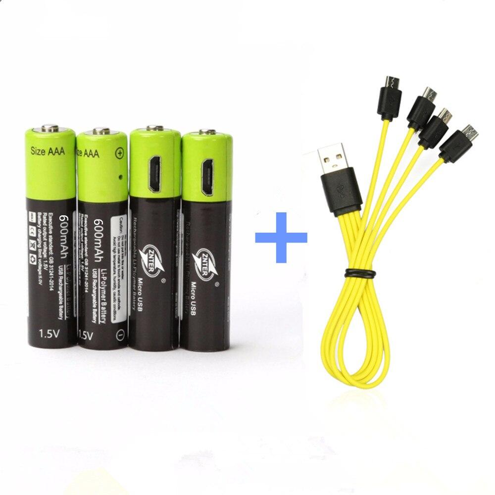 ZNTER AAA 1.5 V Bateria Recarregável AAA 600 mAh Bateria Bateria De Lítio de Carregamento USB com Cabo Micro USB