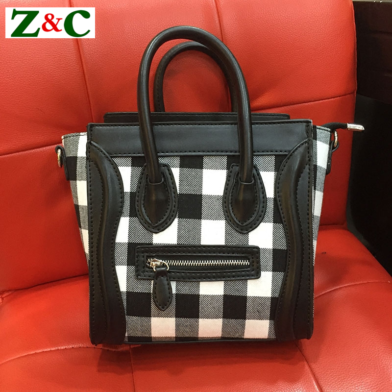 цена на Famous Design Smiley Face Bag Brand Luxury Women Wool Handbag Vintage Plaid Diamond Lattice Women Smiley Tote Crossbody Bags Sac