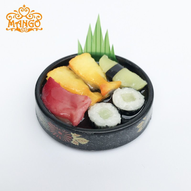 1//6 Doll House Miniatures Decor Vivid Japanese Food Sushi Round Plate Gift