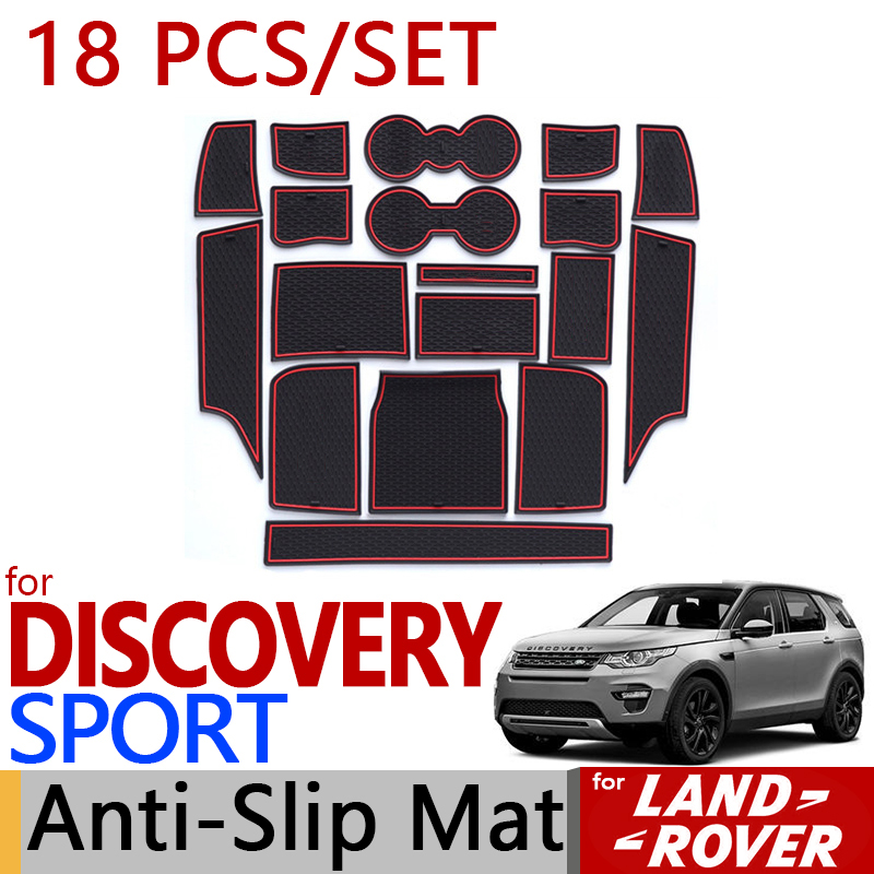 for Land Rover Discovery Sport Anti-Slip Rubber Cup Cushion Groove Mat 18pcs/set 2015 2016 2017 Accessories Car Styling Sticker for honda stepwgn 2015 2018 non slip mats rubber cup cushion door groove mat 2016 2017 accessories car styling car stickers