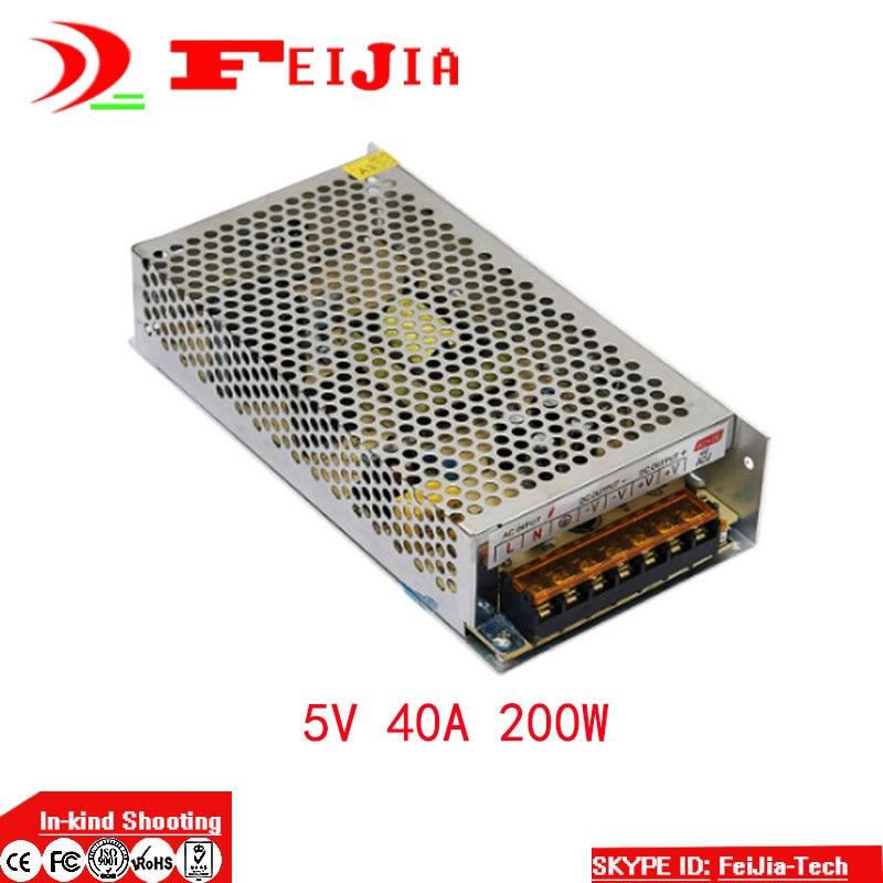 DC 5V 40A 200W Switching Power Supply Transformer for LED Strip Light Display 110V 220V AC to DC 5V switching power supply 720w dc 12v 60a 110 or 220v ac to dc12v smps for led strip display light cnc cctv free shipping