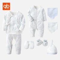 GB Newborn Baby Set Gifts 8 Pieces Belt Shirt Pants Rompers Cap Gloves Socks Bibs 100