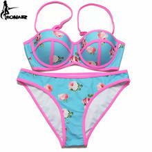 EONAR Push Up Bikini 2019 Print Floral Bikini Set Women Swimsuit Swimwear Adjustable Halter Strap/ Ties at back Bathing Suits spaghetti strap floral print ruched bikini set