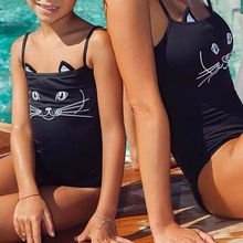 Cute Cat Mother Daughter One Piece Swimwear Family Matching Swimsuit Romper New 2018