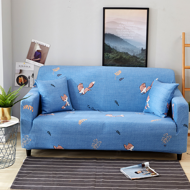 Cheap Blue Cartoon Anti-slip Universal Stretch Couch/Corner Sofa Cover For Living Room Home Decor Furniture Covers Elastic Cover