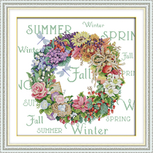 The Wreath of All seasons (5) Counted DIY Cross Stitch DMC 11CT 14CT Kits for Embroidery Home Decor Needlework