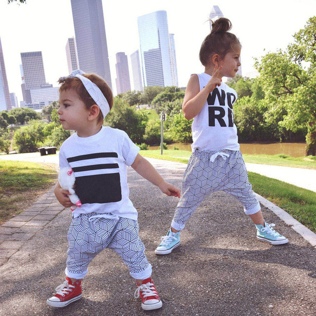 43cc59f9bfd MUQGEW Fashion Style girls boys kids 2pcs Toddlers Letter Vest Tops with  Belt Harem Pants Siblings Outfits  xtn