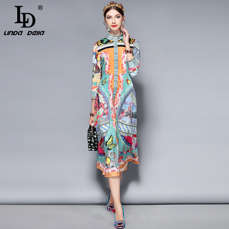 LD LINDA DELLA Fashion Runway Retro Dress Womens 3/4 Sleeve Gorgeous Button Floral Print Vintage Mid-Calf Dress