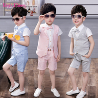 3PCS/sets Summer Wedding Suits of Boys Children Formal Prom Party Dress Graduation Kids Boy Tuxedo Shirts Waistcoat Shorts Suit
