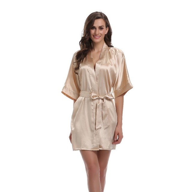 Women s Sexy Solid Satin Kimono Robe Silk Dressing Gowns Nightgown Summer  Sleepwear Bridesmaid Bridal Robes For Nocturnal Female c6e727a5b