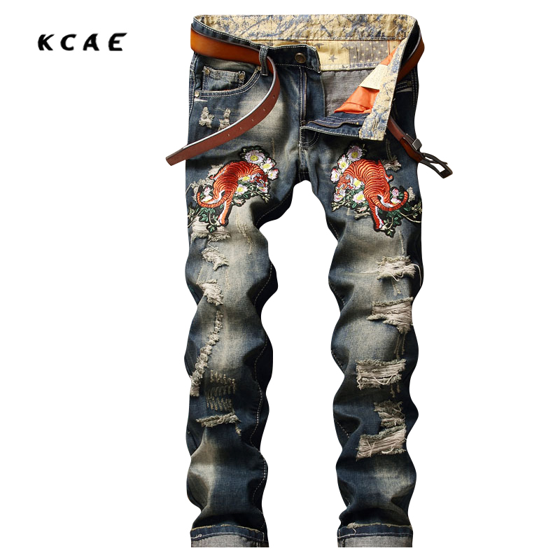 New Embroidered Mens Ripped Jeans Brand Slim Straights Patches Vintage Designer Jeans Men Brand 2017 Punk Hip Hop Pants aftermarket free shipping motorcycle parts engine stator cover for honda cbr1000rr 2006 2007 06 07 black left side