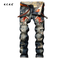 New Embroidered Mens Ripped Jeans Brand Slim Straights Patches Vintage Designer Jeans Men Brand 2017 Punk Hip Hop Pants