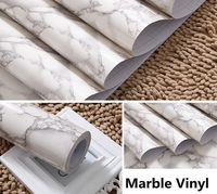 1.22x3m White Grey Marble Gloss Vinyl Wrap Film Water proof Film Kitchen Home Use