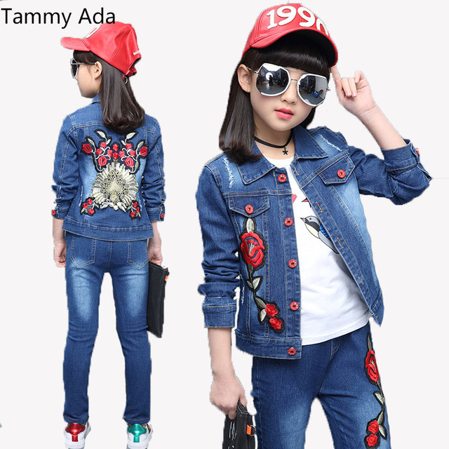 581520f1f269 Tammy Ada Girls Outfits Kids Jeans Clothes Sets Fall Child Denim ...