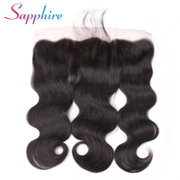 Sapphire Brazilian Body Wave Lace Frontal Free Part Ear to Ear Human Hair Lace Closure Size 13x4 Natural Color Non Remy Hair