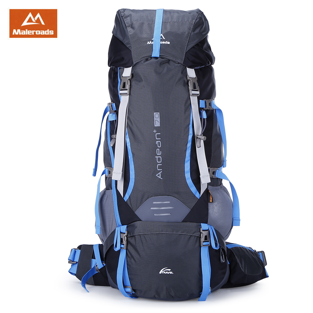 <font><b>Maleroads</b></font> <font><b>70L</b></font> Outdoor Sports Backpack Hiking Camping Bag Water Resistant Nylon Bike Rucksack with Rain Cover 2 Colors image