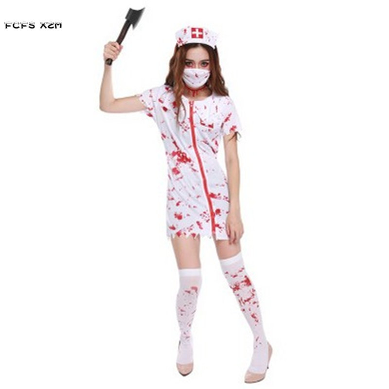 Female Nurse Cosplays Halloween Doctor Costumes for woman Horrible bloody Zombie Role play cloth Carnival Masquerade party dress