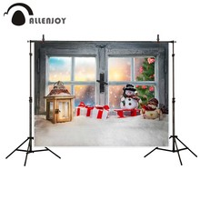 Allenjoy photography background christmas window sill decoration beautiful sunset view tree backdrop Photo studio
