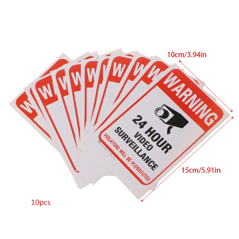 10pcs/lot Waterproof PVC 24 HOURS CCTV Video Surveillance Security Sticker Warning Signs