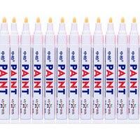 12 canetas de marcador permanentes brancas dos pces para a pintura de borracha do metal do pneu do caminhão do carro do motor cylce|Marcadores| |  -