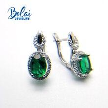 купить Bolaijewelry,Created green emerald clasp earring 925 sterling silver fine jewelry for women best gift по цене 1557.29 рублей