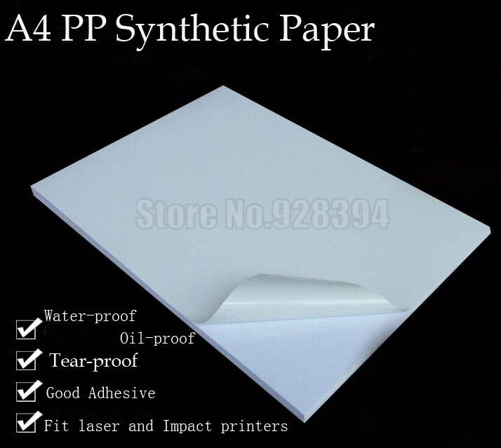 A4 PP Synthetic Paper  Adhesive Sticker Paper Printing Paper Glossy Sheet Fit Laser Printer 20sheets/lot bicycle helmet
