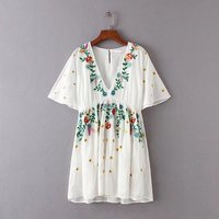 2017 Summer dress women European Short Sleeve Flower Embroidery V neck beach dress Casual Cotton Party dresses vestidos