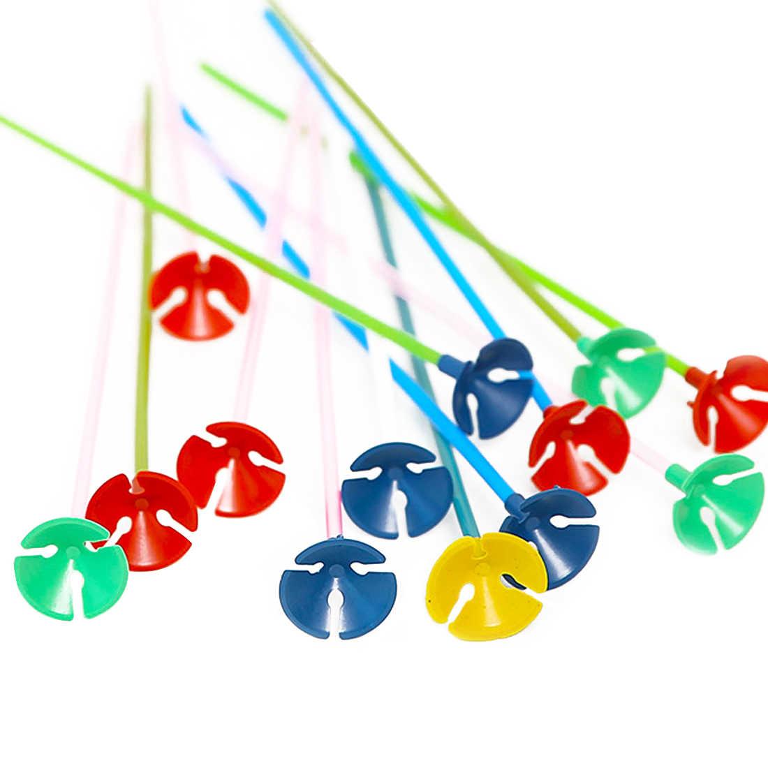 20 ensembles/lot 40cm Latex ballon bâton couleur PVC tiges ballons support bâtons avec tasse fête fournitures accessoires de décoration de fête