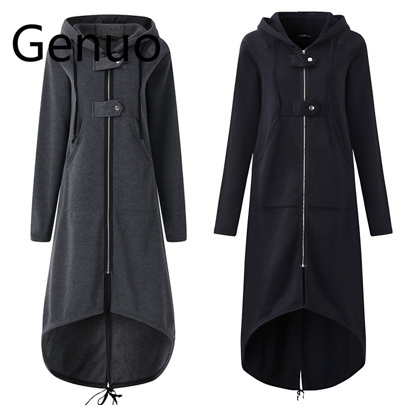 Casual Long Sleeve Hooded   Trench   Coat 2019 Autumn Black Zipper Plus Size 5XL Velvet Long Coat Women Overcoat Clothes