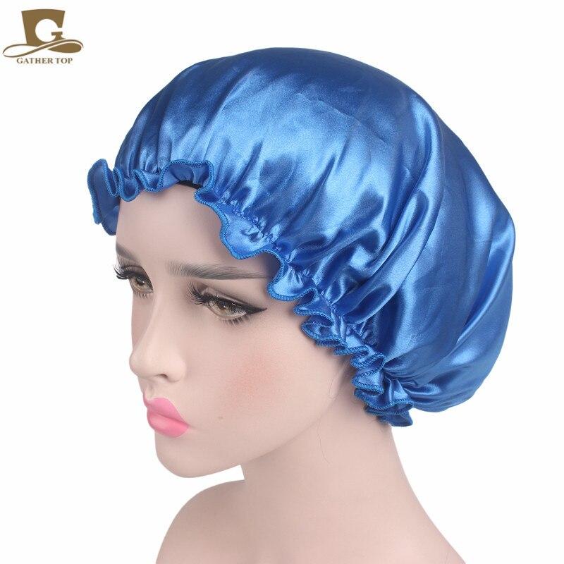 New Women Beauty Salon Cap Sleep Night Cap Head Cover Satin Bonnet Hat  For Curly Springy Ladies Turban