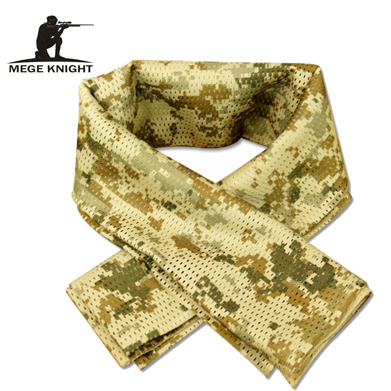 Tactical Military Camouflage Tørklæde Cool Airsoft Tactical Multifunktionelle Army Mesh Breathable Scarf Wrap Mask Shemagh Veil
