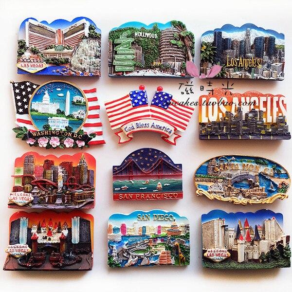 Estados Unidos Hollywood Los Angeles Las Vegas turismo conmemorativo nevera imán 3D imán viaje recuerdo Decoración