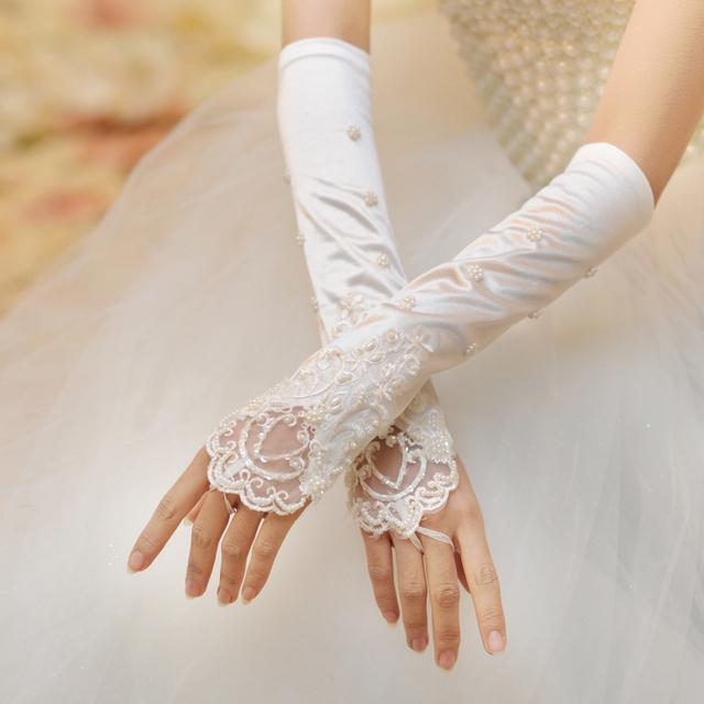 2015 Plearls Lantejoulas Branco Luvas de Dedos Completos Longas Luvas De Cetim de Noiva Acessórios Vestido de Noiva