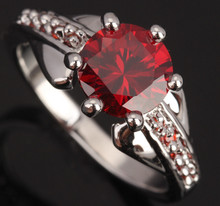 Superior Fine Fashion Red Garnet 925 Sterling Silver Overlay Jewelry Party For Women Size 6 7 8 / 9 S0579