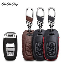 Leather Car Key Case Cover For Audi A4l A3 A4 A5 A6 A8 Quattro Q5 Q7 A6 A8 Smart Remote Car Key Shell Protection Car Styling fashion leather metal car styling keychain car and home key ring holder housekeeper for audi a3 a4 a5 a6 q3 q5 car accessories
