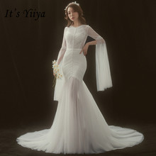 It's YiiYa Train Mermaid Wedding Dress Flare Sleeve