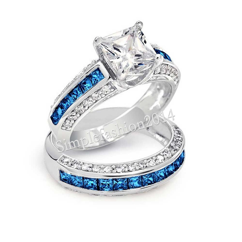 New Jewelry Real Blue Gem 5a Zircon Birthstone 10kt White Gold Filled  2in1 Women Wedding Ring Set Engagement Band Sz 511