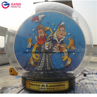 Large outdoor christmas balls transparent inflatable snow ball 3m diameter inflatable human size snow globe for advertisement