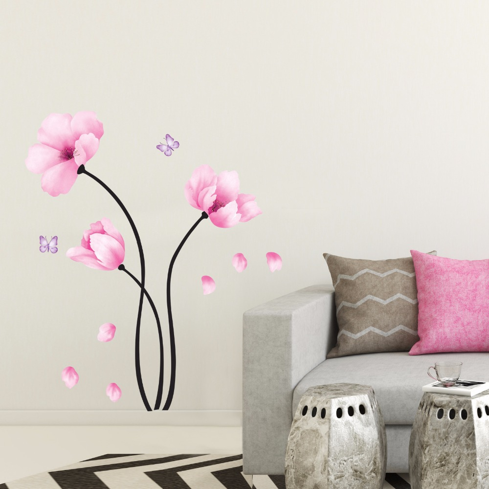 Classcial Pink Flower Butterfly Wall Stickers Eco friendly ...
