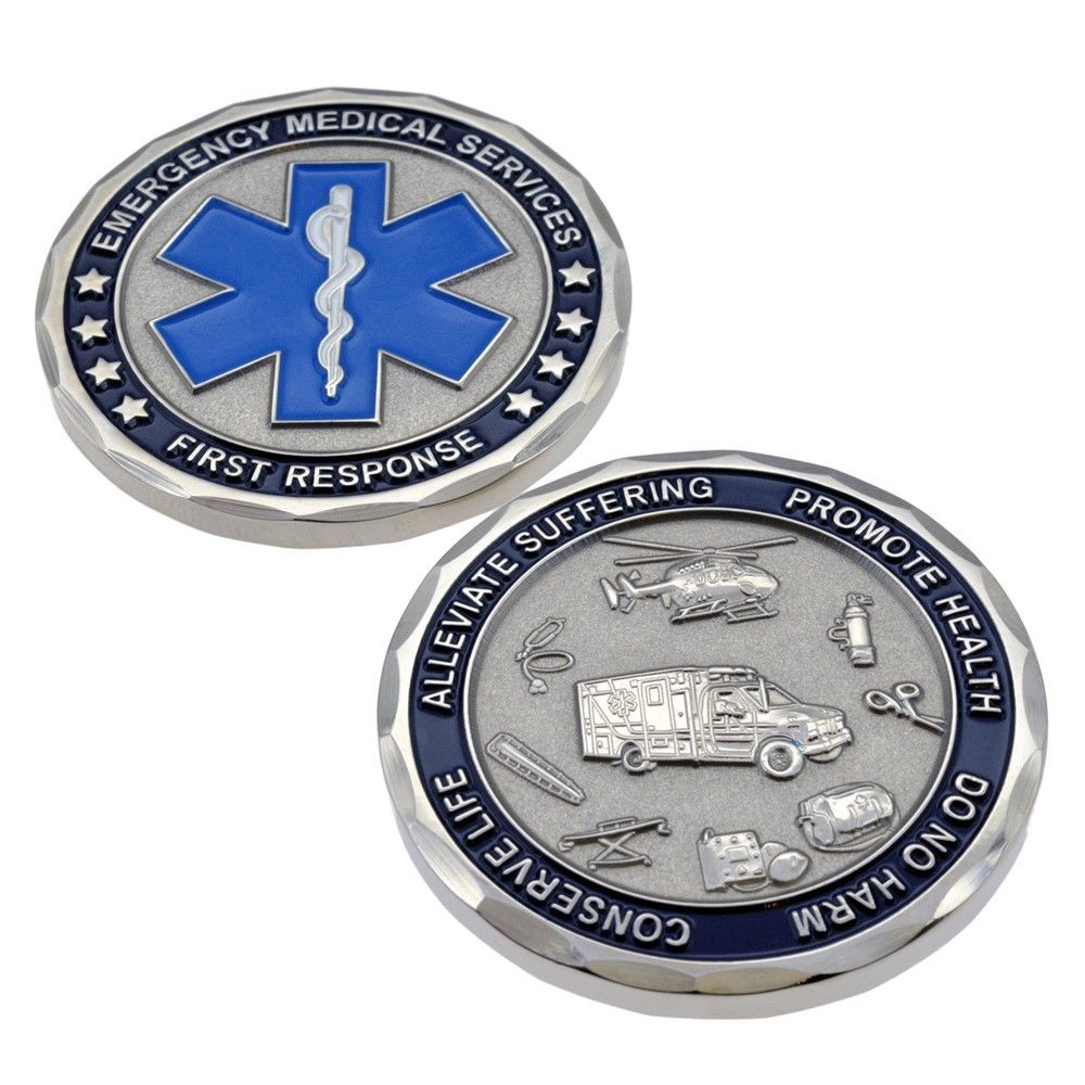 EMS EMT Emergency Services Star of Life Paramedic Medical Rescue Challenge Coin 50pcs lot Free shipping