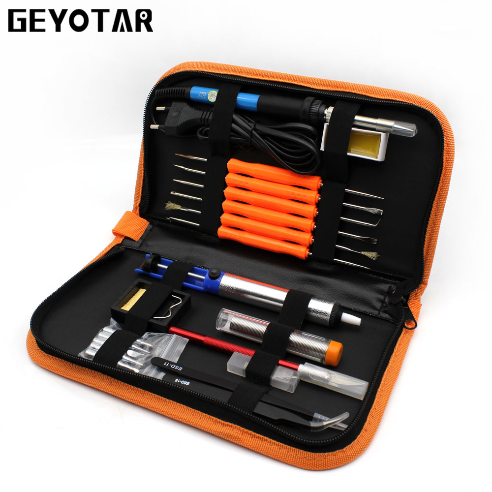 220v 60w Portable Electric Soldering Iron Adjustable Temperature Solder +5pcs Tips Welding Repair Tool Kit Tweezers Eu Plug цена