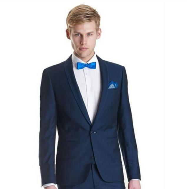 Custom made groom suits tuxedos one button men Navy blue groom ...