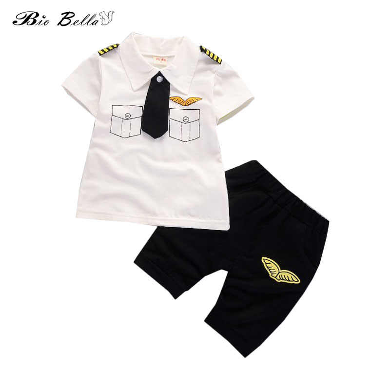 Kids Pilot Clothing Sets Kids Handsome Pilot Suit Short Sleeve Tshirt+Black Shorts 2pcs Cosplay Uniform for Party Fancy Costumes