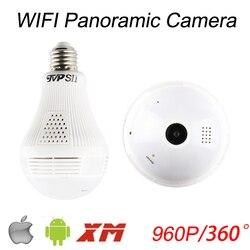 Три Массив LED 128 г 960 P 1.3mp 360 градусов рыбий глаз 3D VR панорамный лампы Wi-Fi Беспроводной IP CCTV Камеры скрытого видеонаблюдения бесплатная доставк...