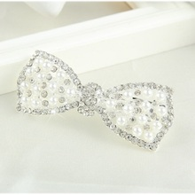 Beads Hair Clip Fashion Trend Pearl Bow Woman Girl Tiara Hairpin Gift Wholesale Accessories Handmade For Girls F93003