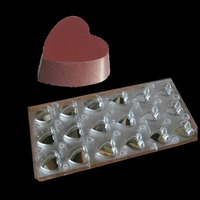 PC Heart Shape With Mirror Clear Magnetic Chocolate Sheet Polycarbonate Magnet pudding jelly transfer baking Mold Mould Tools