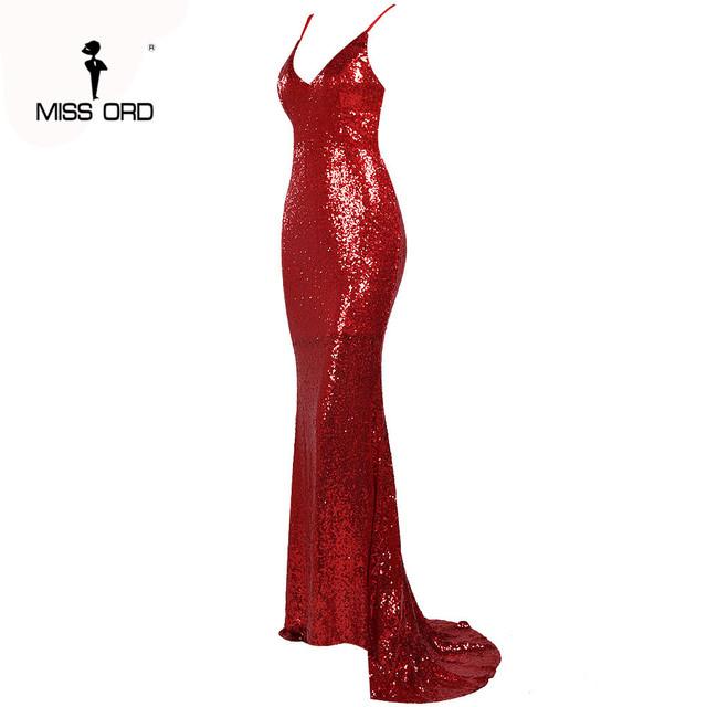 Missord 2017 Sexy halter  V-neck  party dress sequin maxi dress FT4173-1