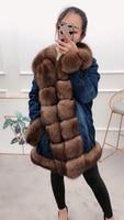 2019 denim parka real fox fur coat winter jacket women natural fox fur collar thick warm rex rabbit fur parkas new