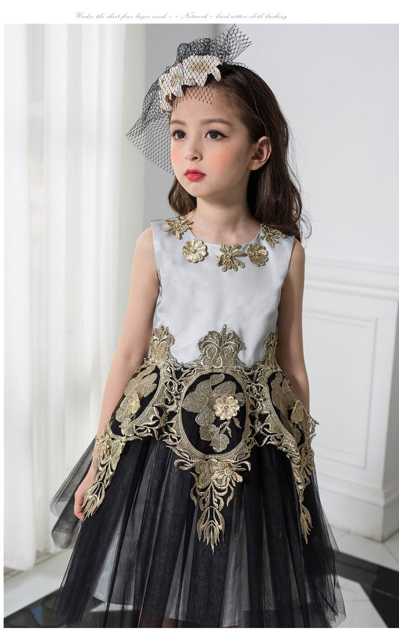 Retail Girls Wedding Dress Black Gold Sleeveless Ball Gown Dresses ...