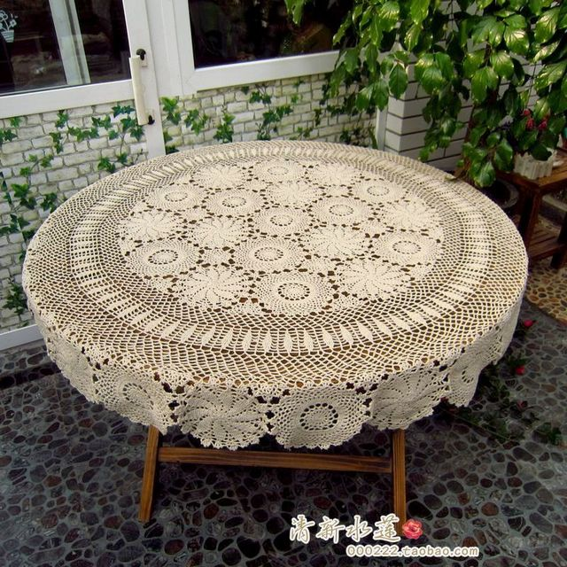 Janpnese Design Handmade Crochet Dining Lace Table Cloth 100% Cotton  Knitted Tablecloth Circle White Beige